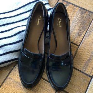 Clarks Slip-on Black High Heeled Oxford